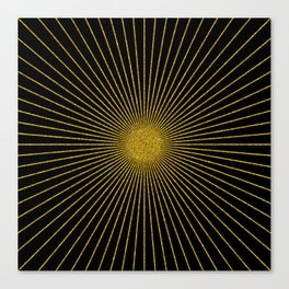 Black and gold glitter sun rays, gold glitter abstract geometry Canvas Print