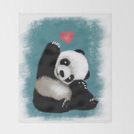 Panda Love (Color) Throw Blanket