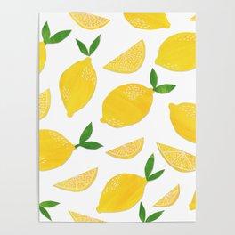 Lemon Cut Out Pattern Poster