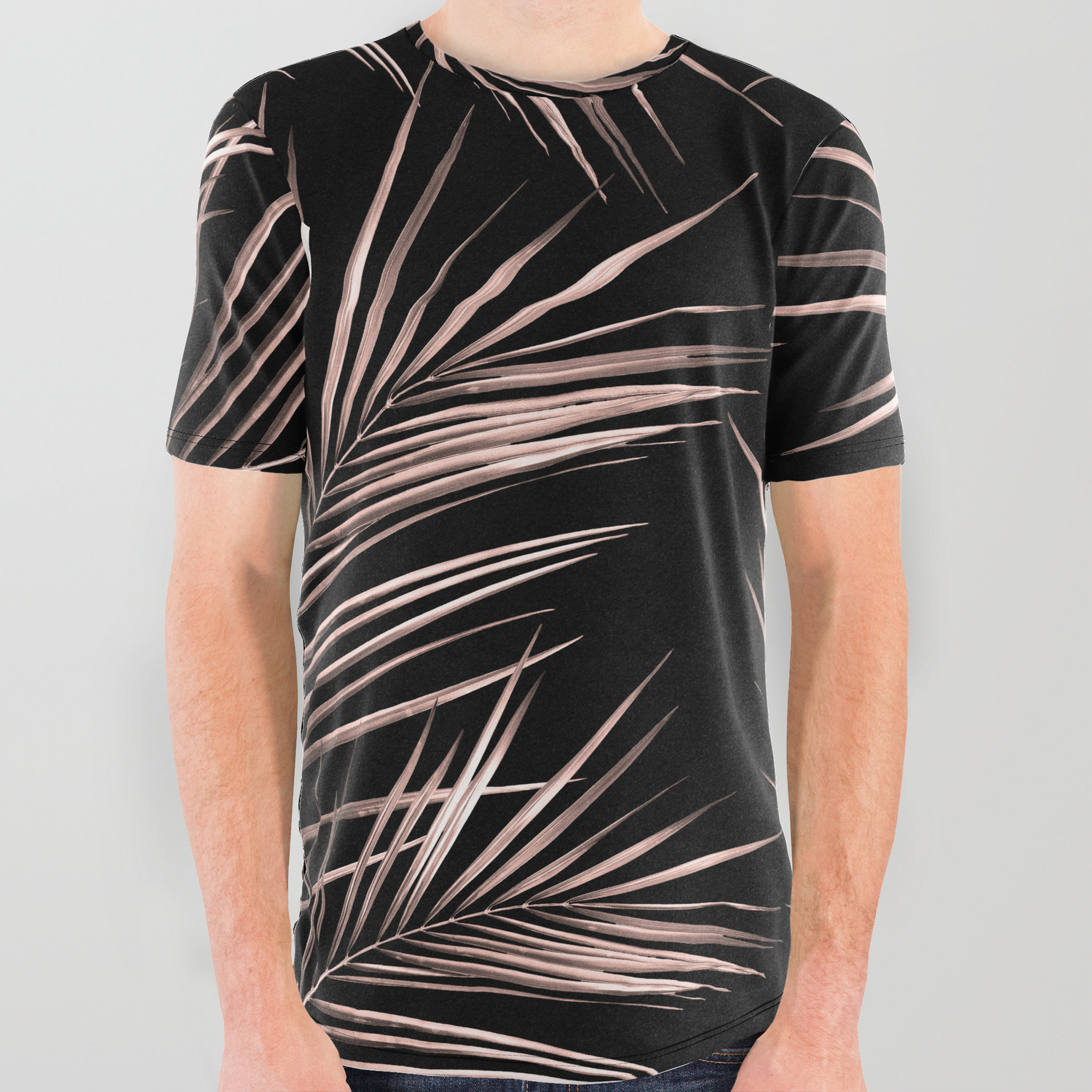 b23726dc3 Rosegold Palm Tree Leaves on Midnight Black All Over Graphic Tee by ...
