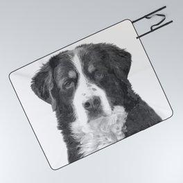 Black and White Bernese Mountain Dog Picnic Blanket