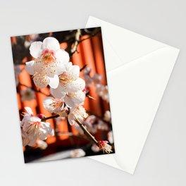 White plum blossom in a Japanese shrine Stationery Cards