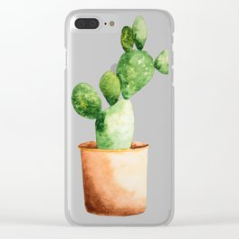 Potted Cactus Clear iPhone Case
