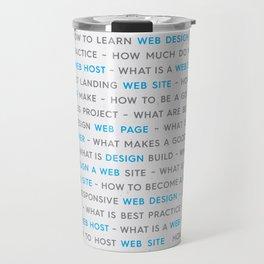 Blue Web Design Keywords Poster Travel Mug