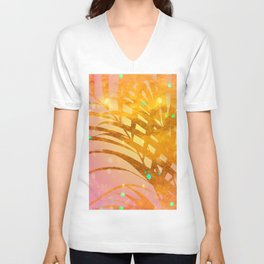 Sultry Summer Sun Golden Palms Unisex V-Neck