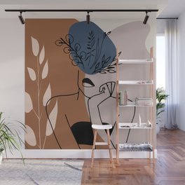 Woman with flowers art print. Woman flower head. Floral female body line art. Blooming wall art Wall Mural