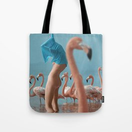 Girl with flamingos Tote Bag