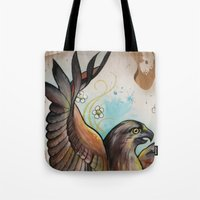 hawk Tote Bags featuring Hawk by ChaniMurat