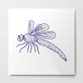 Dragonfly Flying Drawing Side Metal Print