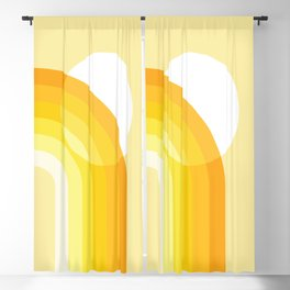 Mid Century Modern Geometric 82 in Shades of Yellow Mustard (Sun and Rainbow abstraction) Blackout Curtain