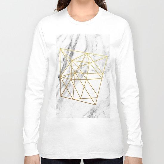 Gold geometric marble Long Sleeve T-shirt