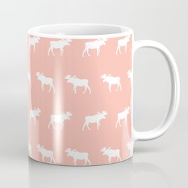 Moose pattern minimal nursery basic peach and white camping cabin chalet decor Coffee Mug