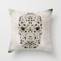 Watercolor Floral Skull Throw Pillow