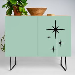 1950s Atomic Age Retro Starburst in Mint Green and Black 2 Credenza