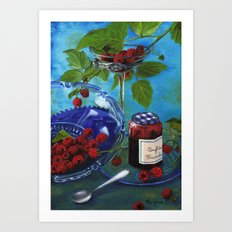 Still-life with raspberries Art Print