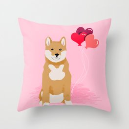 Shiba Inu balloons hearts love valentines day must have dog breed shiba inus gifts Throw Pillow