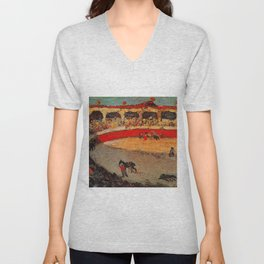 Pablo Picasso - La Corrida - Plaza de Toros Pamplona, Spain matador and bull landscape painting  Unisex V-Neck