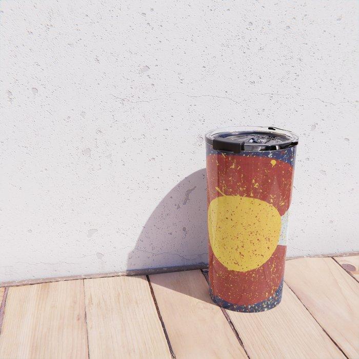 Splatter Colorado Flag Art Travel Mug