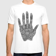 the Creating Hand White MEDIUM Mens Fitted Tee