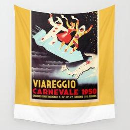 Vintage Viareggio carnival Italian travel ad  Wall Tapestry