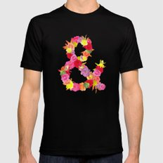 Flower Ampersand Mens Fitted Tee MEDIUM Black