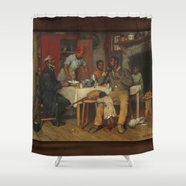 A Pastoral Visit, by Richard Norris Brooke, 1881 . An African American family Shower Curtain