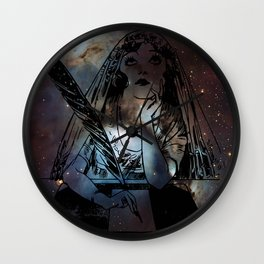 Galaxy Gypsy Writing a Letter to the Cosmos Wall Clock