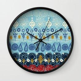 lotus block blue Wall Clock