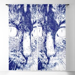 Fluffy's eyes drawing, dark blue and white Blackout Curtain