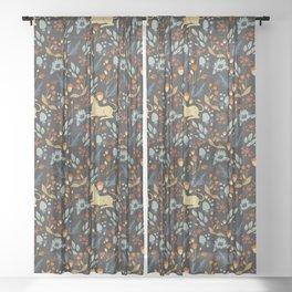 Unicorn autumn forest pattern Sheer Curtain