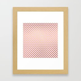 Princesslike - pink and gold elegant heart ornament pattern Framed Art Print
