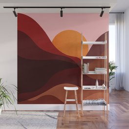 Abstraction_Mountains_SUNSET_Minimalism Wall Mural