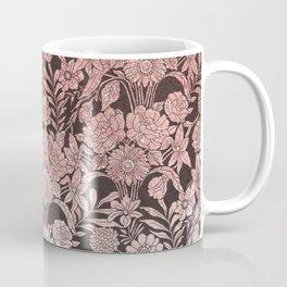 Elegant vintage black faux pink glitter floral pattern Coffee Mug