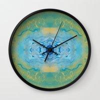 sonic Wall Clocks featuring Sonic Mandala by katy zimmerman