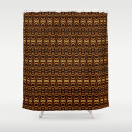 Dividers 07 in Orange Brown over Black Shower Curtain