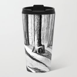 Trees Casting Shadows in the Woods Travel Mug