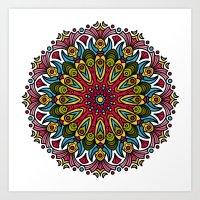 Primitive Colorful Mandala Art Print