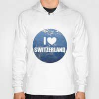 switzerland Hoodies featuring I Love Switzerland by Caroline Fogaça