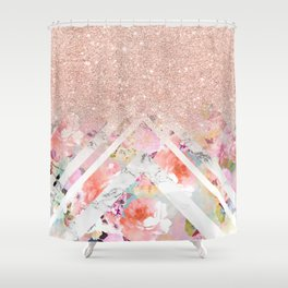 Modern rose gold glitter ombre floral watercolor white marble triangles Shower Curtain
