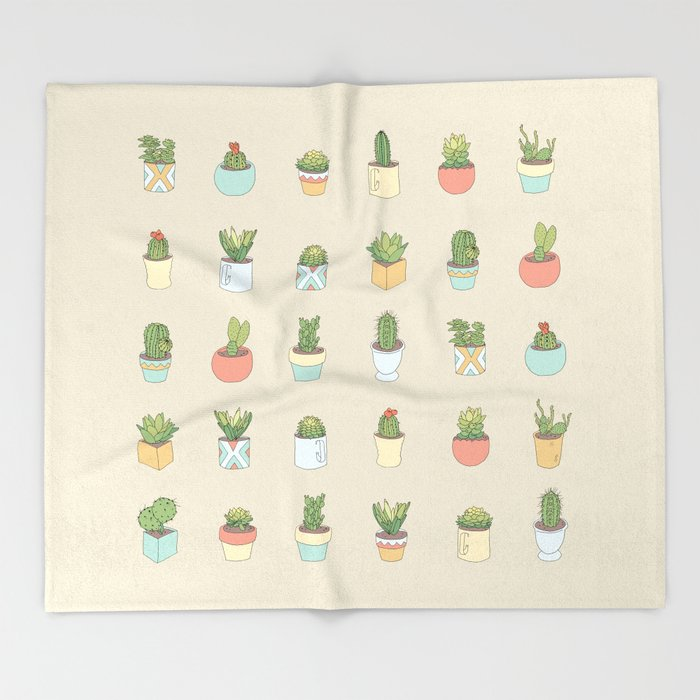 Cute Succulents Throw Blanket