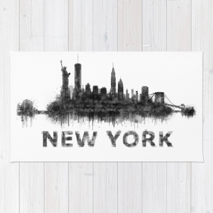 New York NY Skyline. NYC city Rug