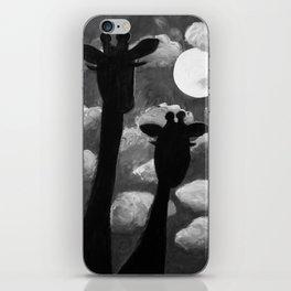 Giraffes at Nightfall - Black & White Version iPhone Skin