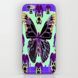 Black Butterfly Jade Green with Purple Violas Abstract Design iPhone Skin