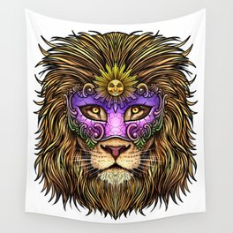 Mardi Gras | Pride Lion With Cute Mask Wall Tapestry