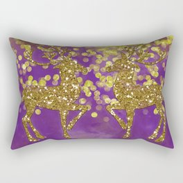 Purple Christmas faux golden glitter deer Rectangular Pillow