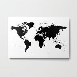 Black World Map Metal Print