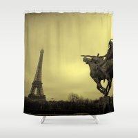 eiffel tower Shower Curtains featuring Eiffel Tower by alexaxm