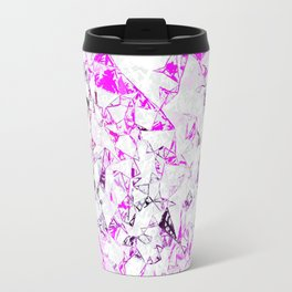 pink heart shape abstract with white abstract background Travel Mug