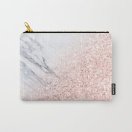 She Sparkles Rose Gold Pink Marble Luxe Geometric Carry-All Pouch