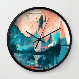 Sugar: a fun, minimal mixed-media abstract piece in pinks and blues Wall Clock